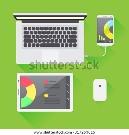 Work applications on different devices, have access to the working files in all circumstances - stock vector
