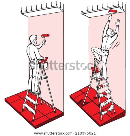Work- at-height safety: ladder 1 - stock vector