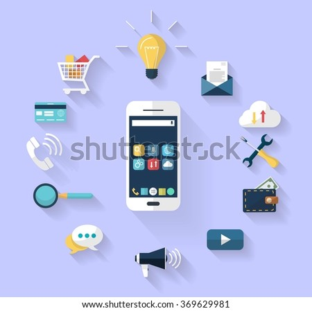 Work concept - business concept -white smart-phone int the centre and a Set of flat design icons for Business, SEO and Social media marketing around the smartphone. isolated in blue background. - stock vector