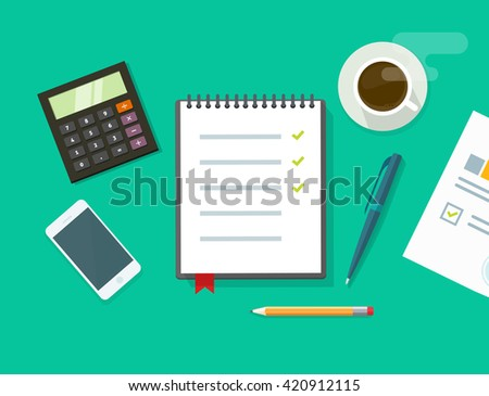 Work desk vector illustration on green color background, business office workplace table concept, flat modern desktop with devices, notebook to do list, organizer, paper work, planning - stock vector