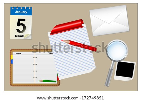 Work desk, vector ilustration, eps10,vector - stock vector
