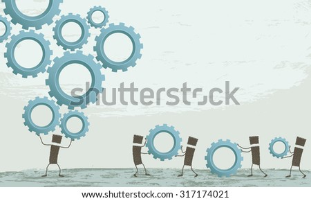 Work even harder. A stick figure holding on his head a lot of gear. Other stick figures bring more gears to make it more difficult to work. EPS10 Illustration - stock vector