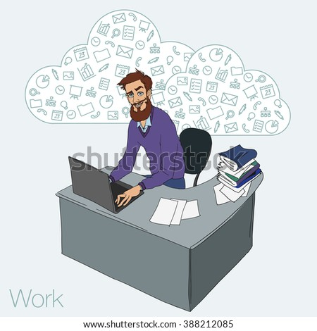 Work in office - project Manager, designer, programmer. Cloud technologies and services for remote team.  Vector illustration of working environment. Man in workplace with laptop