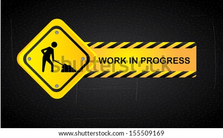 work in progress over black background  vector illustration - stock vector
