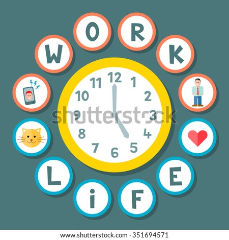 Work Life Balance Concept During a Working Day. EPS8 Vector - stock vector