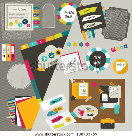 Work office web layout. Colorful graphic template. Folder, sticker,  tab, data, bubbles set. Vector flat background.  - stock vector