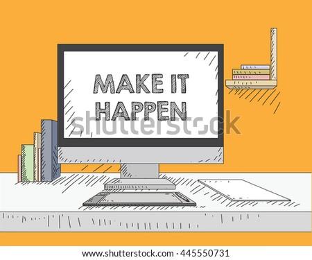 Work on the desktop screen - stock vector