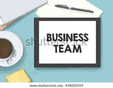 work on the tablet - stock vector