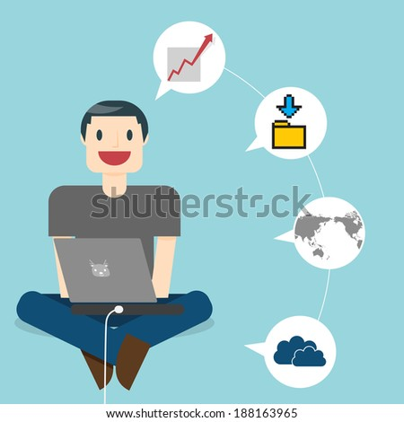 Work Online. Man in the online space. Multitasking man working in casual T-shirt sitting at floor and working on laptop in home office. Isolated on stylish colored background. All in a single layer.