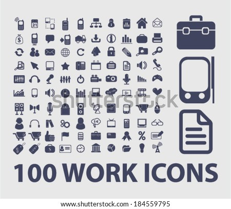 work, presentation, business icons, signs set for website, apps, internet design - stock vector