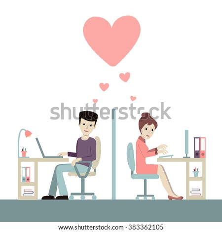 Work romance between two colleagues. Co-working man and woman being in love with each other. Vector illustration. Concept for office romance, flirting at work, love-affair. - stock vector