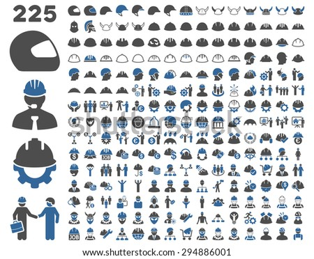 Work Safety and Helmet Icon Set. These flat bicolor icons use cobalt and gray colors. Vector images are isolated on a white background.  - stock vector