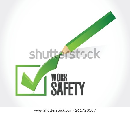 work safety check mark concept illustration design over white - stock vector