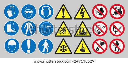 Work safety signs - stock vector