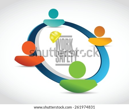 work safety team diagram sign concept illustration design over white - stock vector