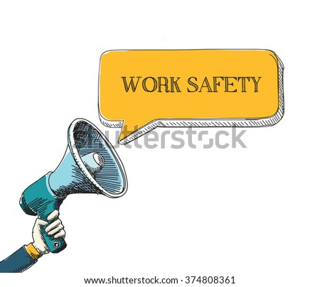 WORK SAFETY word in speech bubble with sketch drawing style - stock vector