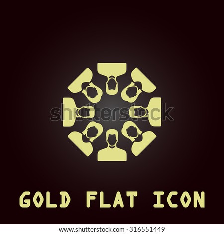Work team concept. Gold flat vector icon. Symbol for web and mobile applications for use as logo, pictogram, infographic element - stock vector