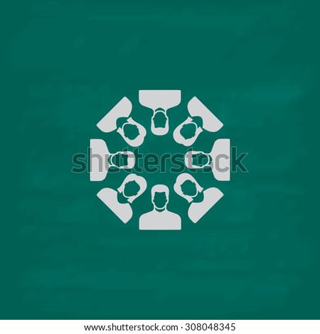 Work team concept. Icon. Imitation draw with white chalk on green chalkboard. Flat Pictogram and School board background. Vector illustration symbol - stock vector