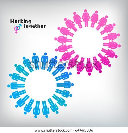 Work team concept. Men and Women. Vector illustration. - stock vector