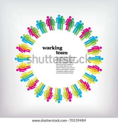 Work team concept. Men and Women. Vector illustration. - stock vector