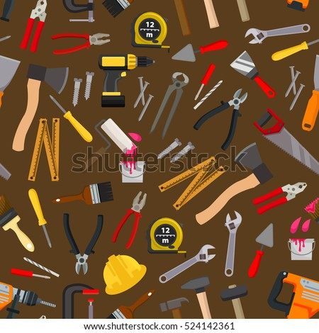 Work tools and equipment seamless pattern with hammer, screwdriver and spanner, pliers, wrench and drill, crew, saw, spatula and trowel, axe, paint roller, brush, nails, measuring tape