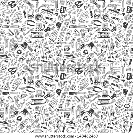work tools - seamless background - stock vector