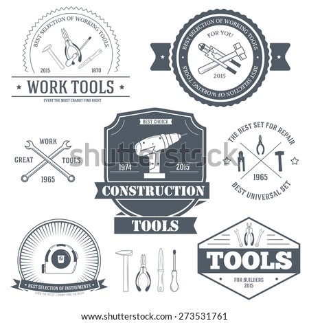 work tools set label template of emblem element for your product or design, web and mobile applications with text. Vector illustration with thin lines isolated icons on stamp symbol.  - stock vector