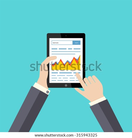 Work with the search engines. Growth in the Internet. The tablet in style to the flat. Schedule. SEO. Raising site to the top. Vector illustration.  - stock vector