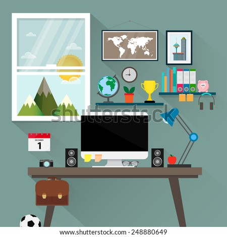 Work with the view - vector illustration - stock vector