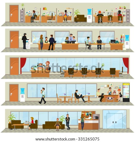 workday in an office building. People in the interior of the building in different poses and situations. Vector illustration. open space office building with working people - stock vector