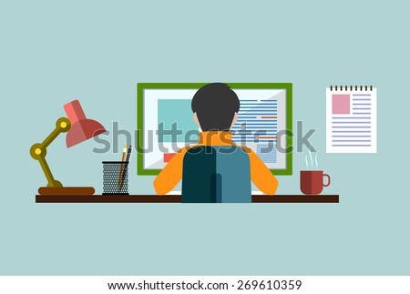 worker at a computer in a flat style