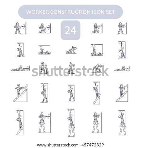 Worker Building and Construction Icons set. Repair logo collection. Isolated gray sign white background. Vector illustration. Usable for web, infographic and print