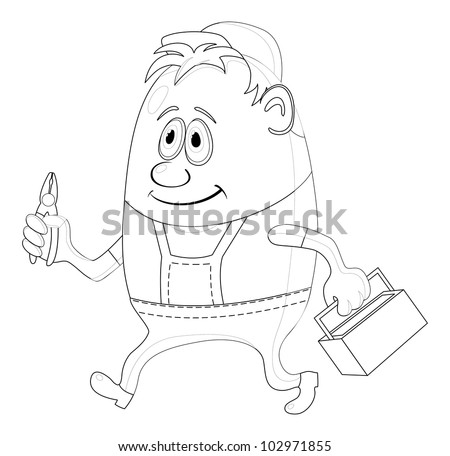 Worker, cartoon character, man in uniform and cap with pliers and toolbox, contour. Vector - stock vector