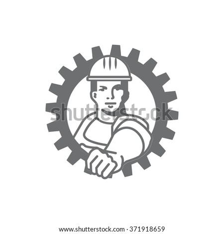 Worker character man in industry. Outline logo template - stock vector