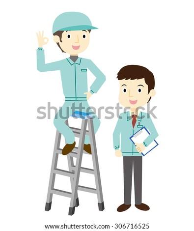 Worker climb to stepladder - stock vector
