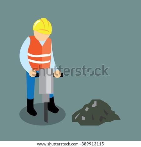 Worker digging the road-vector cartoon - stock vector