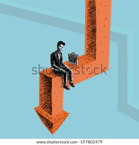 Worker during the crisis out of work on the arrow - stock vector