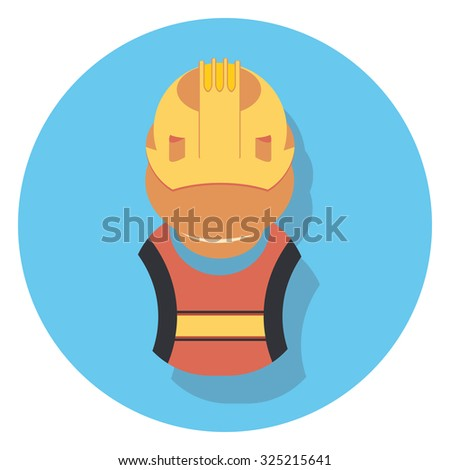 worker flat icon in circle - stock vector