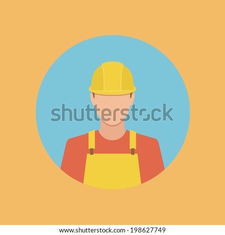 worker flat style web icon - stock vector