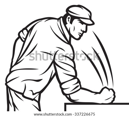 worker hits his fist on the table  - stock vector