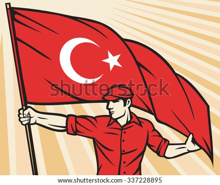 Worker holding flag of Turkey - industry poster (industry design, construction worker and Turkish flag) - stock vector