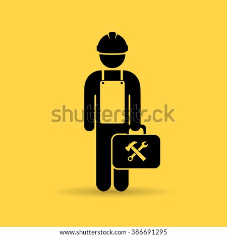 Worker icon isolated on yellow background - stock vector