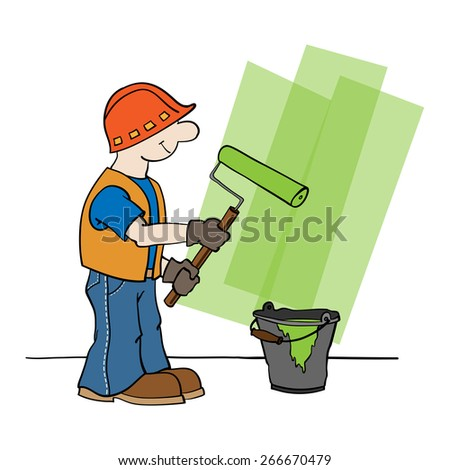 Worker in a hard hat, gloves, and an orange vest paints a paint roller wall with green paint from a bucket, which is close by - stock vector