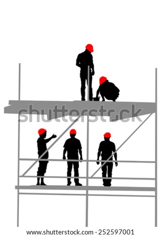 Worker in helmet at construction site on a white background - stock vector