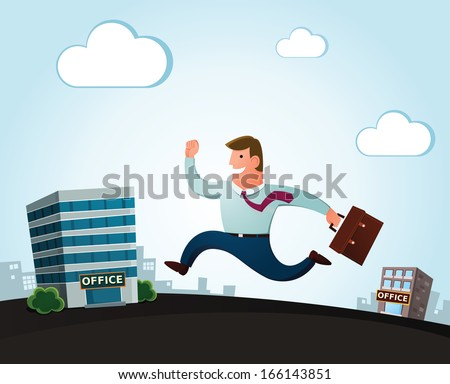worker jumping and smiling happily, moving to the new office for a better job - stock vector