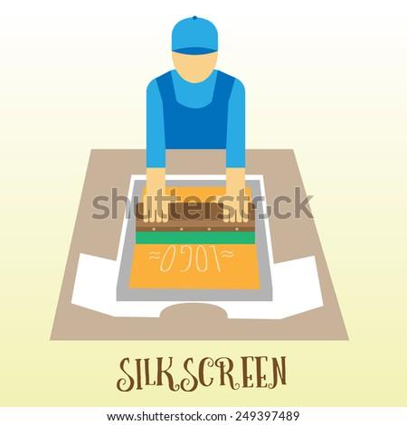 Worker make hand silkcreen printing logo on t-shirt flat design illustration - stock vector