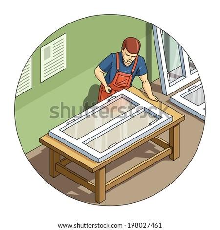 Worker make window. Eps10 vector illustration. Isolated on white background - stock vector