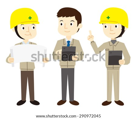 Worker man building with a tablet terminal - stock vector