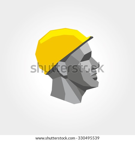 Worker man head in yellow helmet. Logotype, logo and icon for working class, trade union. Low poly style. - stock vector