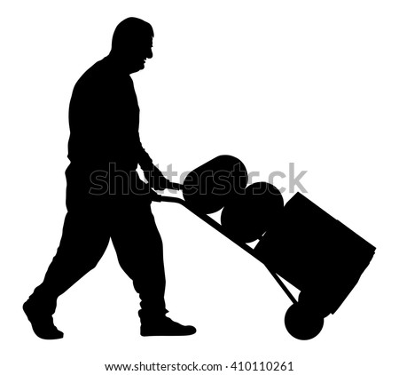 Worker man pushing wheelbarrow vector silhouette illustration isolated on white background. Walking delivery man. - stock vector